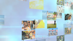 3D wall montage African American Hispanic family fitness healthy USA lifestyle - stock footage