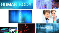 3D medical montage Caucasian scientist touch screen technology motion graphics - stock footage