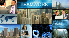 3D montage African American business managers communication motion graphics Stock Footage
