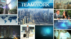 3D montage Caucasian business travelling managers Dubai Hong Kong meeting Stock Footage