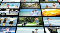 3D motion montage ethnic American seniors family children outdoor lifestyle Stock Footage