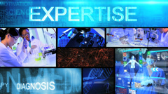 3D montage Multi ethnic medical science touch screen technology motion graphics - stock footage