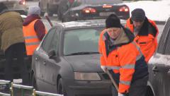 Man Clean The Snow From The Road, Moscow Stock Footage