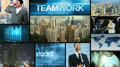 3D montage Multi ethnic business centre strategy touch screen technology - stock footage