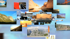 3D montage fly through USA destinations outdoor fitness lifestyle - stock footage