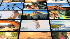 3D montage of multi ethnic American people outdoor holiday lifestyle - stock footage