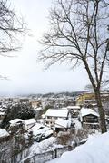 view of the city takayama in japan in the snow - stock photo
