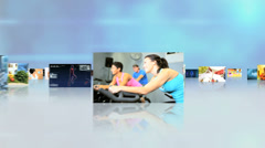 3D montage fly through Caucasian Hispanic healthy  lifestyle motion graphics Stock Footage