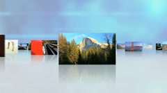 3D montage fly through USA tourism destinations National Parks outdoor lifestyle - stock footage