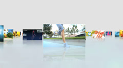 CG montage fly through Hispanic Asian female healthy lifestyle motion graphics - stock footage