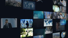 3D montage wall multi ethnic business meetings communication touch screen Stock Footage