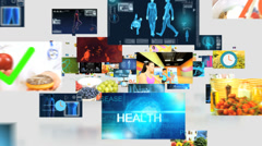 CG montage fly through Caucasian Hispanic healthy food lifestyle motion graphics - stock footage