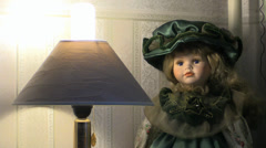 Muppet girl and Lamp Stock Footage