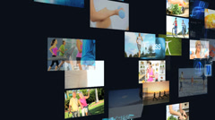 CG montage wall Caucasian Hispanic healthy fitness lifestyle motion graphics - stock footage