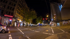 Quiet night traffic in Gastown, Vancouver Stock Footage