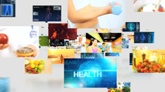 3D montage fly through Caucasian Hispanic healthy body lifestyle motion graphics Stock Footage