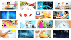 3D montage wall Caucasian Hispanic fitness yoga lifestyle motion graphics - stock footage