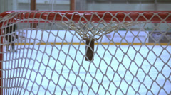 Hockey-mIce Hockey - Male Training - 07 - Shot On Goal Over Close Net Stock Footage