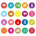 Stock Illustration of electronic flat icons on white background