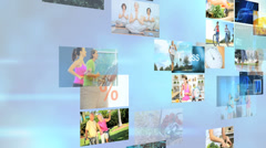 3D wall montage Multi ethnic healthy nutrition lifestyle motion graphics - stock footage