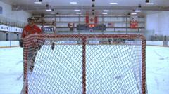 Ice Hockey - Male Training - 05 - Few Players Driving Pucks Stock Footage