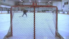 Ice Hockey - Male Training - 08 - Forwards Attacking And Shooting On Empty Goal Stock Footage