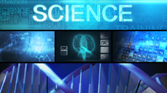 CG video science medical neuron periodic table touchscreen motion graphics Stock Footage