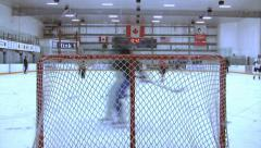 Ice Hockey - Male Training - 12 - Passes and Angle Attack - Shot On Empty Goal Stock Footage