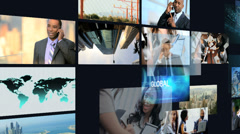 3D montage African American business touch screen motion graphics Stock Footage
