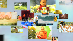 3D montage fly through Multi ethnic family senior lifestyle nature vacation life Stock Footage