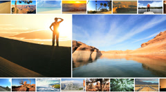 CG montage Caucasian USA national parks outdoor tourist canyon lifestyle - stock footage