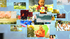 3D montage fly through Multi ethnic family lifestyle nature environment life - stock footage