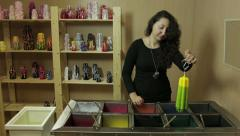 Coloring Liquid Wax Candles Stock Footage