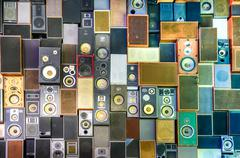 music speakers on the wall in retro vintage style - stock photo
