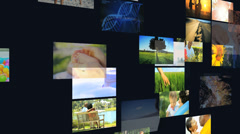 3D environmental montage wall Multi ethnic nature life holiday Stock Footage