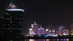 HD video of the famous Macau casinos at night Stock Footage