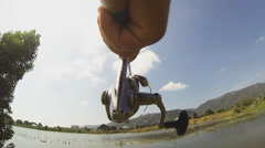 Fishing lure point of view on river Stock Footage