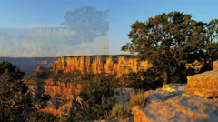 3D wall montage USA National Parks tourist vacation canyon mountain lifestyle - stock footage