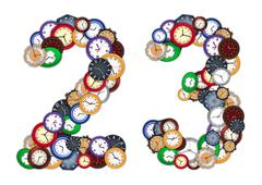 numbers 2 and 3 made of various clocks - stock photo