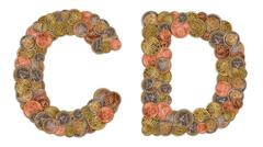 characters c and d made of euro coins - stock photo