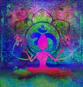 Stock Illustration of yoga lotus pose - abstract background