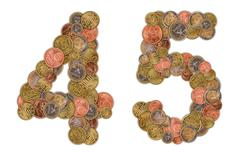 numbers 4 and 5 made of euro coins - stock photo