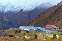 annapurna base camp, nepal - stock photo