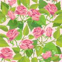 Stock Illustration of floral seamless pattern with blooming pink roses