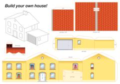 Paper Model House Yellow - stock illustration