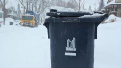 Blue Bin recycling. Toronto snowstorm. Stock Footage