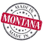 made in montana red round grunge isolated stamp - stock illustration