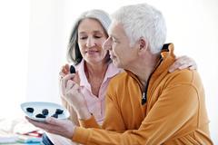 Elderly person eating Stock Photos