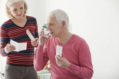 cholesterol treatment, elderly - stock photo