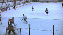 Ice Hockey - Male Playing - 19 - Team At Defense and Counter-Attack Stock Footage